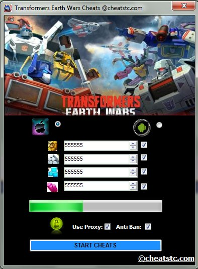 Transformers Earth Wars Cheats